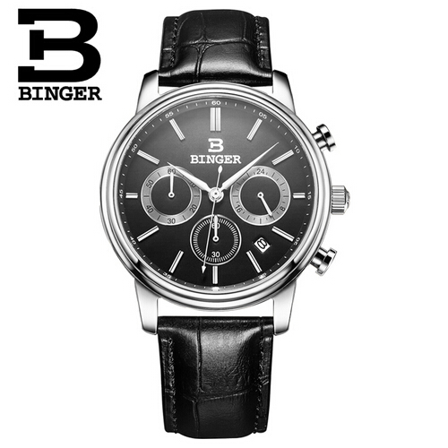 2017 Binger Casual Watch Top Brand luxury Fashion watches Men Sport Quartz Watch Leather dive Wristwatch Male Relogio Clock mens watch top luxury brand fashion hollow clock male casual sport wristwatch men pirate skull style quartz watch reloj homber