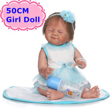 50cm NPK Full Silicone Body Reborn Baby Doll Smiling Sleeping Girl In Nice Princess Dress Girl