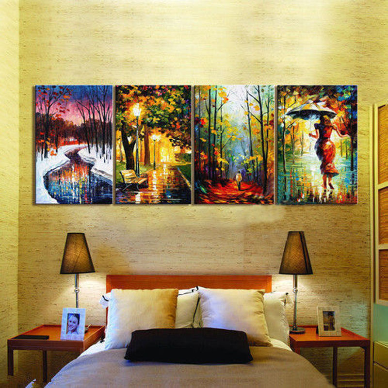 ᑐ4Pc Large Canvas Painting Contemporary Wall Art Decor sttreet ...