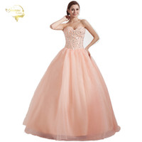 2016 New Arrival Free Shipping Cheap Price Sweetheart A Line Beading Organza Vestidos Floor Length Quinceanera