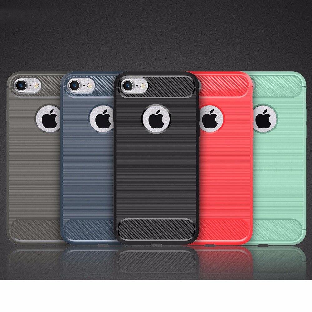 imágenes para 100 unids/lote para iphone se 5s 6 s plus case, de alta resistencia de fibra de carbono cepillado robusta armadura tpu gel case para iphone 7 7 plus