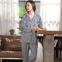 Autumn and winter new simple fashion can wear pajamas home service women long-sleeved trousers shirt V-neck striped home service