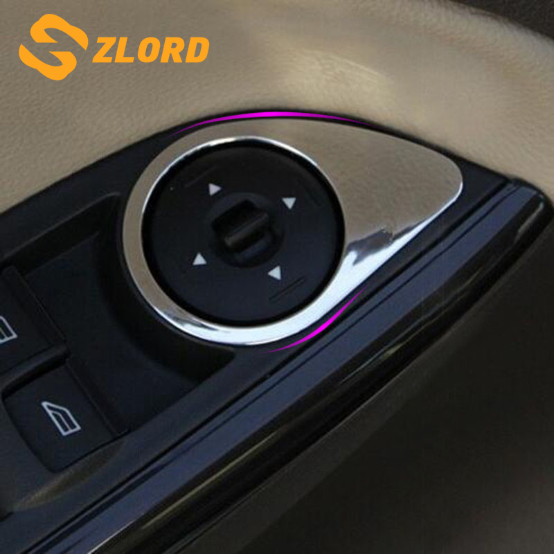 Zlord Car Stainless Steel Windows Lift Trim ABS Window Lift Buttons Decocation Stickers For Ford Focus 3 MK3 4 MK4 2012- 2017