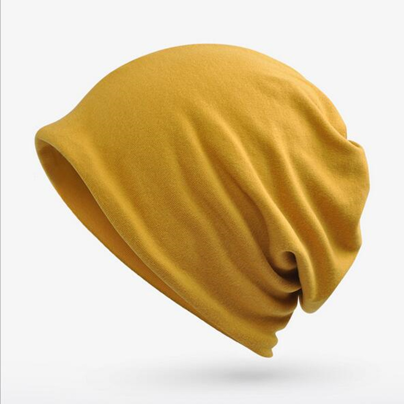 Solid Color Unisex Men Women   Skullies     Beanies   Hedging Knitting Cotton Double Layer Fabric Caps Bonnet Hat warmer bonnet casual