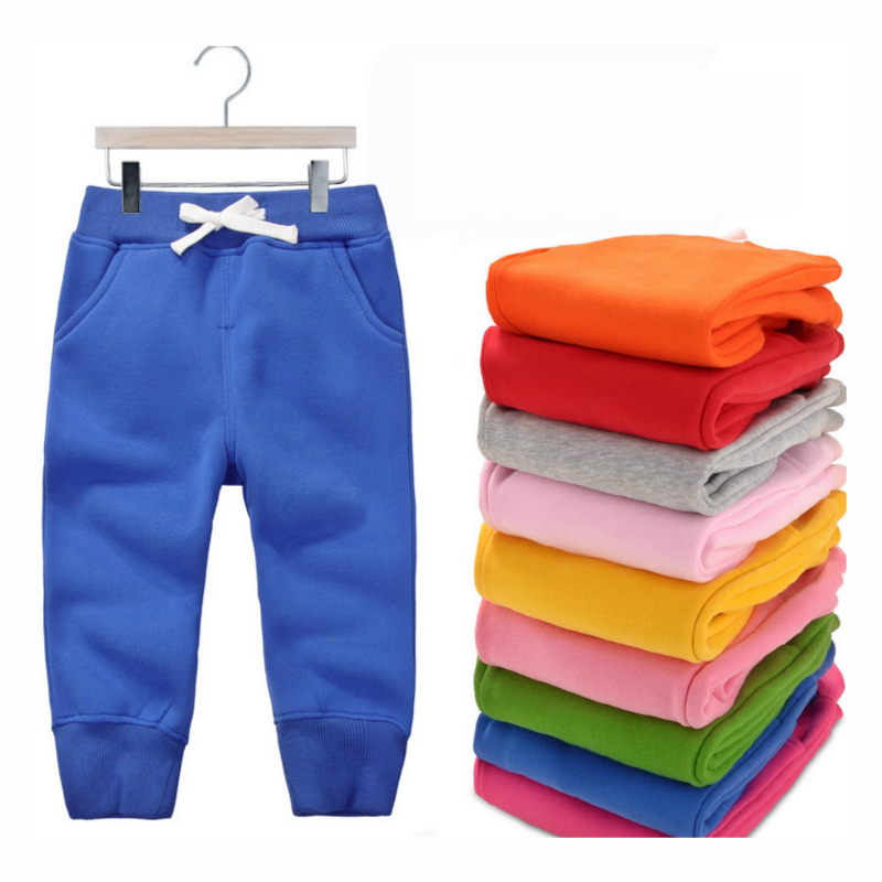 Colorful Children Pants 12M-5T polar Fleece Cotton Solid Color Autumn Winter Straight Full Pants Girls Boys Children's Clothes winter zipper pants 2017 new polyester solid boys straight zipper fly woven straight pants 90 140 overalls for boys