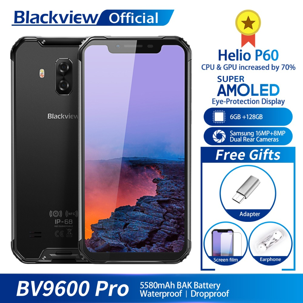 Blackview BV9600 Pro IP68 Waterproof Mobile Phone Helio P60 6GB+128GB 6.21″ 19:9 FHD AMOLED 5580mAh Android 8.1 Smartphone NFC