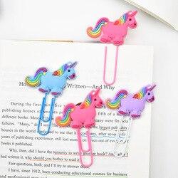 Criativo unicórnio marcador bonito kawaii marcadores de livro clipe de papel para crianças estudantes material escolar escritório artigos de papelaria coreano
