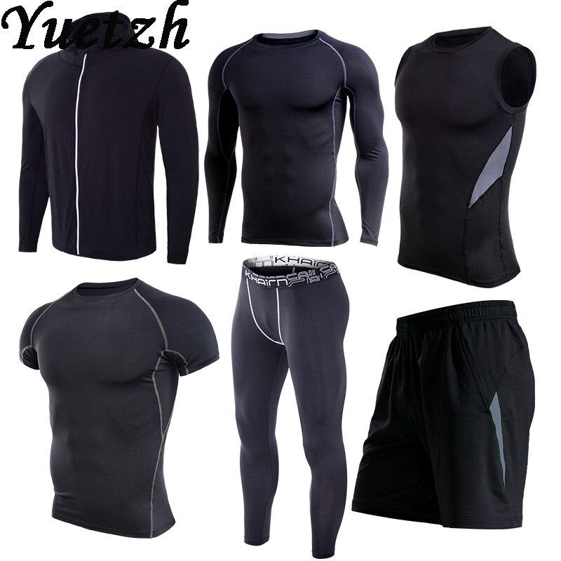 Nouveau gym vêtements de fitness hommes survêtement ensemble sportswear rapide essayer sport course costume russe randonnée escalade vêtements porter