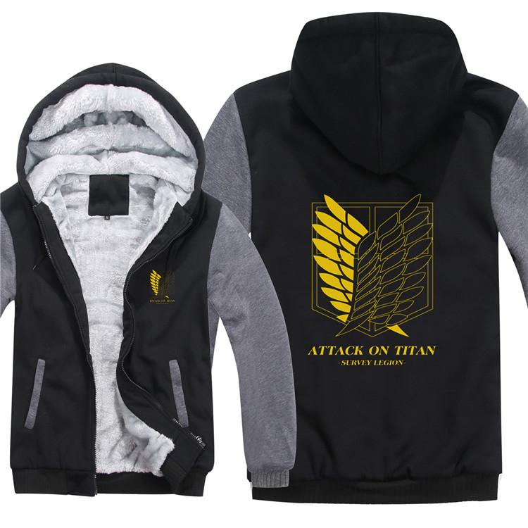 Nuevo invierno cálido ataque en Titan hoodies anime hombres con capucha  capa gruesa cremallera shingeki no Kyojin ala Cosplay chaqueta sudadera. 5.  10 12 ... 76735e92541