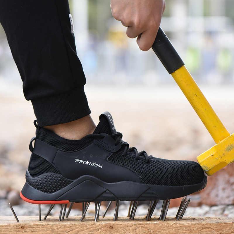 2019 artı boyutu erkek kış çelik burun koruyucu iş ayakkabısı kısa çizmeler erkekler çelik orta taban güvenlik yıkılmaz ayakkabı