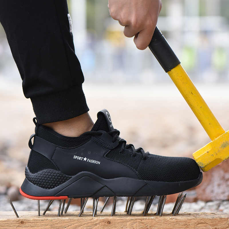 Plus Größe männer Winter Stahl Kappe Kappe Schutzhülle Arbeit Schuhe Kurze Stiefel Männer Stahl Mid Sohle Sicherheit Unzerstörbar Schuhe