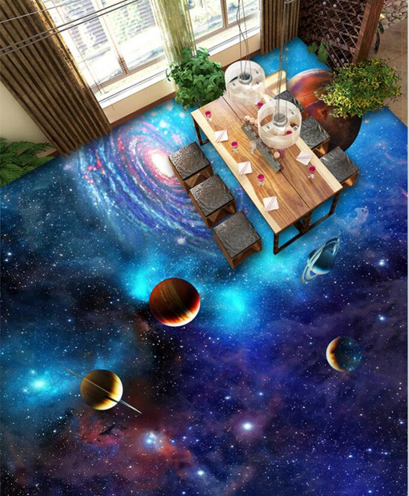 3d floor wallpaper cosmic galaxy stars for living room for Custom photo mural