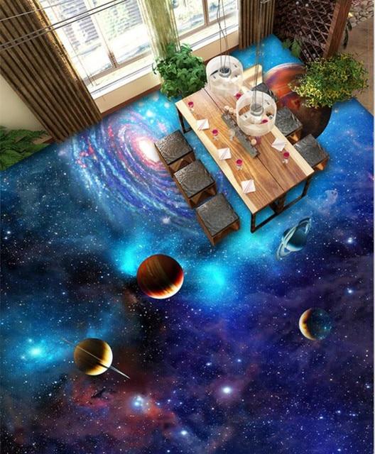 3D Vloer Behang Cosmic Galaxy Stars voor Woonkamer Custom foto ...