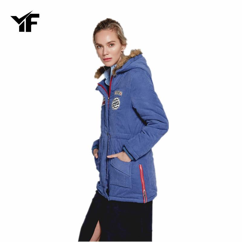 YF Women Fashion Autumn Winter Warm Jackets Women Fur Collar Coats Long Parkas Hoodies Office Lady Cotton Plus Size