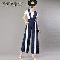 TWOTWINSTYLE Ribbons Jumpsuits Women High Waist Patchwork Adjustable Suspenders Wide Leg Pants Female Spring Summer Korean New