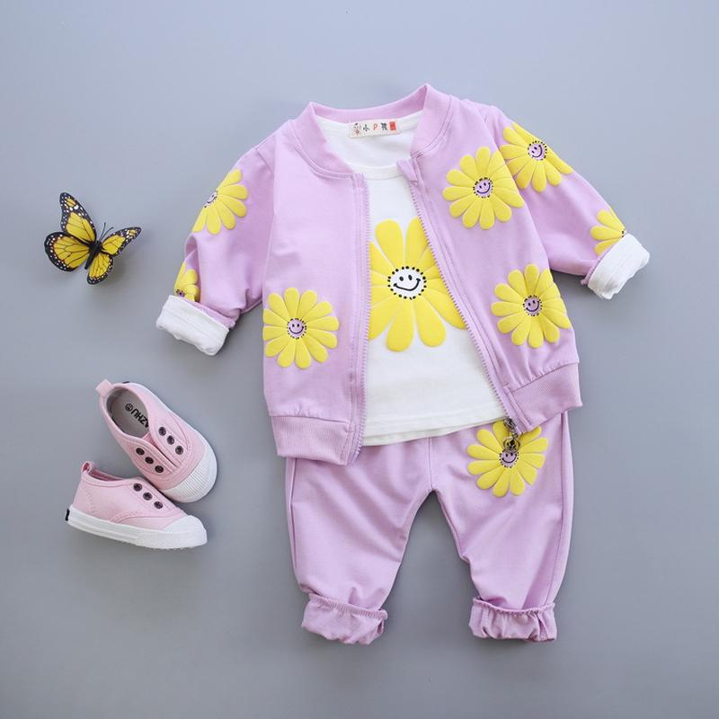 Newborn Baby Clothing Set 2017 Spring Autumn New 1 2 3 4 Year Girls Clothes Flower Coat Long Sleeve Shirts Pants 3pcs Kids Suits new 2017 children set kids clothes spring autumn boy clothing set monsters t shirts pants coat 3 piece sports suit for girls