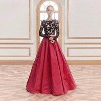 2019 черные и красные платья для выпускного вечера из двух частей вечернее платье с длинными рукавами кружевное платье из тафты Длинные плать