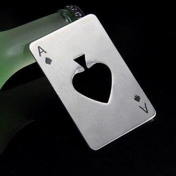 2016 New Poker Card Shape Bottle Opener Stainless Steel Credit Card Size Bar Beer Opener 50 pcs
