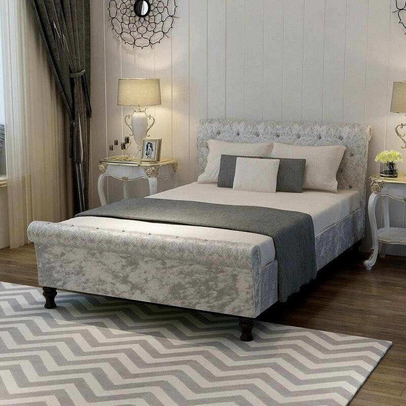 Aplastado terciopelo cama Telas tapizado sofá cama trineo Marcos ...