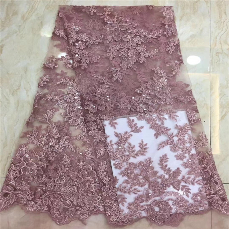VILLIEA Purple French Nigerian Laces Fabrics High Quality Tulle African Laces Fabric Wedding African French Tulle Lace Fabric-in Lace from Home & Garden    2
