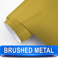 Gold Metal Brushed Aluminum Vinyl Car Wrap Film With Air Release Channel Back Good Stretch Size