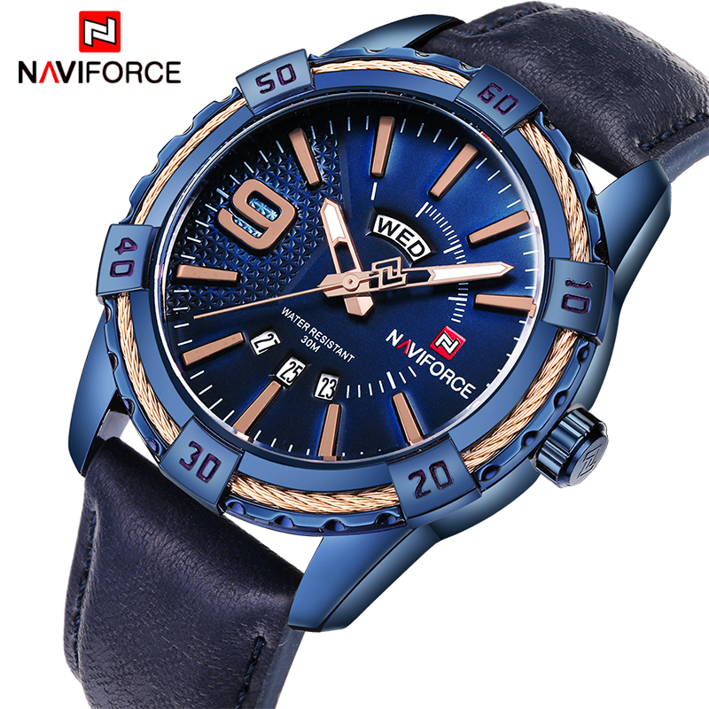 NAVIFORCE Men's Sport Waterproof Quartz Watch Leather Band 1