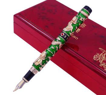 Luxury Handmade Jinhao Green Cloisonne Double Dragon Fountain Pen Bent Nib Advanced Craft Writing Gift Pen for Business Graduate