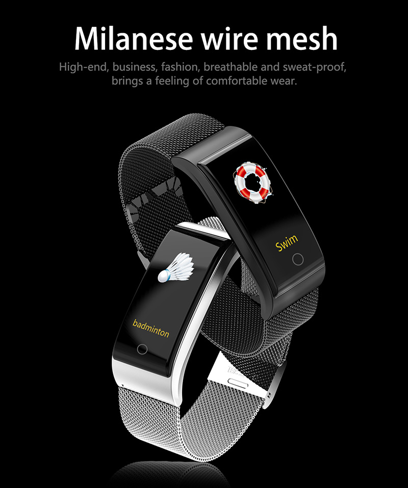 Foto of silver and black colors Smart waterproof watch with pedometer. Smart waterproof watch with heart rate monitor