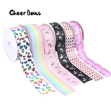 Cute Printed Grosgrain Ribbon 75mm Width Polyester Love Heart Unicorn Bow Ruban Christmas New Year Ribbons For Craft
