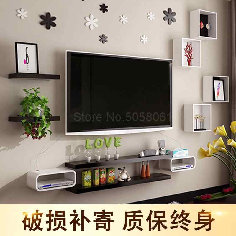 Wall shelf set-top box living room wall-mounted TV cabinet room background  wall TV wall decoration frame
