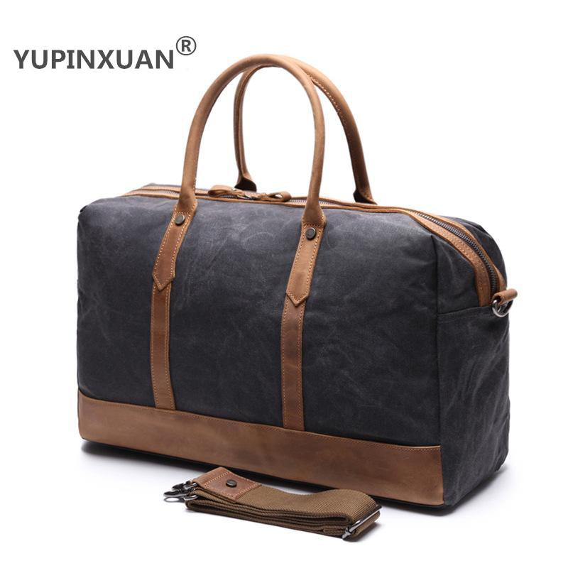 YUPINXUAN Oil Wax Pure Cotton Canvas Travel Handbag Men Vintage Waterproof Luggage Travel Duffle Bag Large Capacity Weekend Bag mybrandoriginal travel totes wax canvas men travel bag men s large capacity travel bags vintage tote weekend travel bag b102
