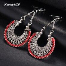 Naomy&ZP Long Flower Ethnic Dangle Bohemian Earrings Women Vintage Boho Large Tassel Big Drop Earrings For Women Fashion Jewelry