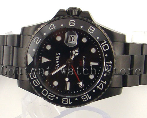 <font><b>Parnis</b></font> <font><b>40mm</b></font> Black Dial GMT Sapphire Luminous Automatic Mechanical Mens <font><b>Watch</b></font> image