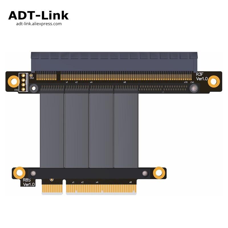 PCIe 3.0 x8 to x16 Riser Cable 64G/bps PCI-E 8x 16x 1U 2U Extender For NVIDIA GTX1080Ti GTX1070 GTX1060 1050 Graphics Full speed riser gen3 0 pci e pcie x8 to pcie x16 graphics card extension riser ribbon cable elbow design 64g bps pci express 8x 16x