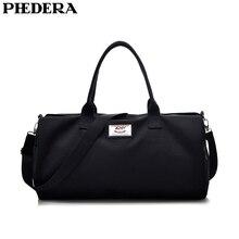 PHEDERA New Canvas Travel Duffle Bags Women and Men Luggage Black Brown Beige Unisex Sport Outdoor Handbag Shoulder 2019