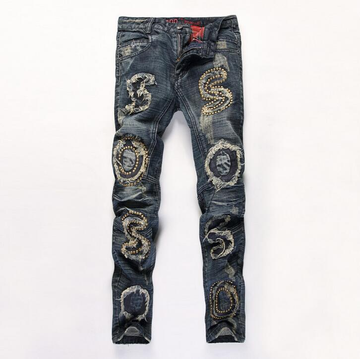 #2723 2016 Ripped jeans Distressed Hip hop jeans Fashion Designer Mens biker jeans Motorcycle trouser Joggers High quality brand