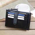 Genuine Leather Card & ID Holders for Men Credit Cards Bag Korean Women Mini Cow Leather 10 Banks Card Purse Middle Pocket Q1205