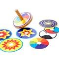 Детские Игрушки Деревянные Волчок Классические Игрушки Монтессори Красочные 8 Рисунок Карты Наклейка Рано Развивающие Бук