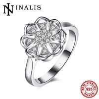 INALIS Elegant Flower Shape 925 Sterling Silver Rings For Women Clear AAA CZ Stone Cocktail Mid