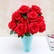 Junsum Brand New Design Artificial Flowers 9 Heads Natural Looking Roses Bouquet for Wedding Home Party Shop Decoration