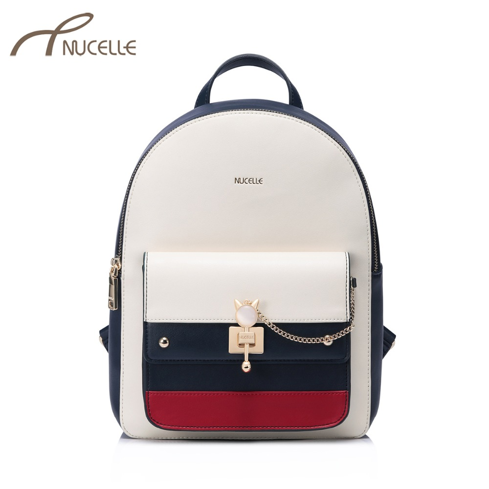 NUCELLE Women's Leather Backpack Ladies Fashion Cat Ear Lock Chains Daily Shoulder Bags Female Elegant Panelled Travel Backpack