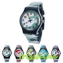 Irissshine #7015 Crianças Camuflagem relógio Relógio de Quartzo Relógio de Pulso Para Meninas Menino