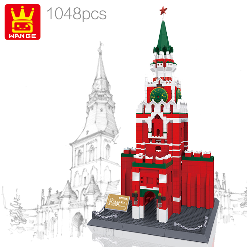 WANGE 8017 Moscow Kremlin Model Building Block Set Bricks Architecture Classic Collection DIY Toys For Children Gifts brinquedos wange building blocks toys for children gifts architecture series fontana di trevi of roman 667pcs bricks home decor no 7014