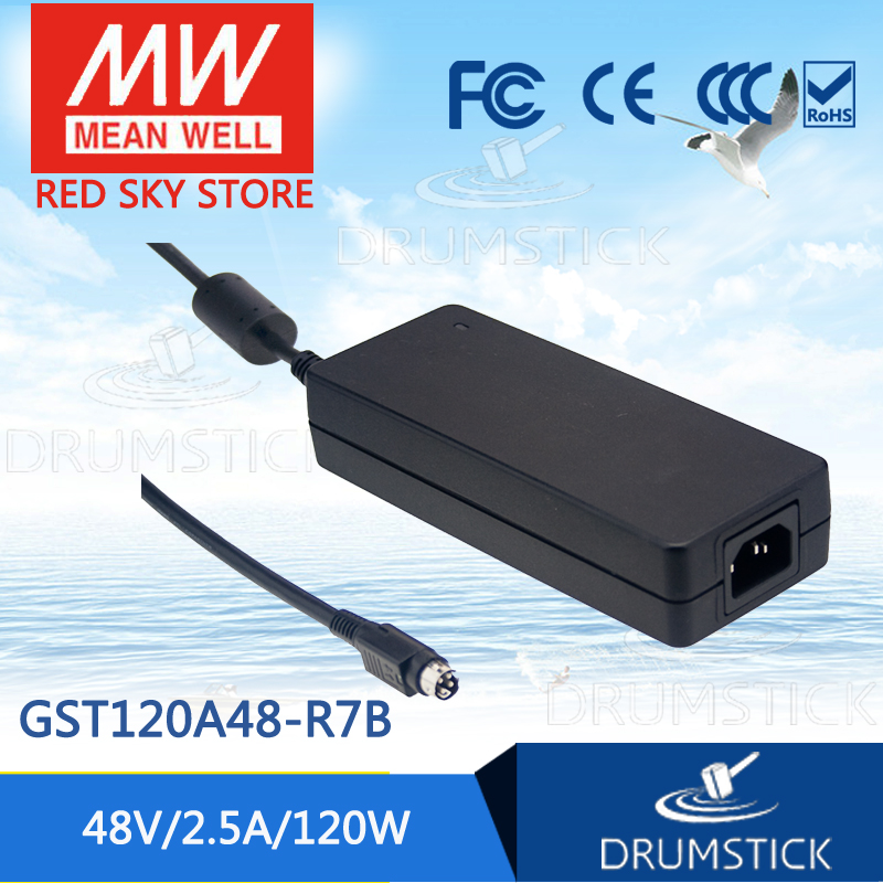 100% Original MEAN WELL GST120A48-R7B 48V 2.5A meanwell GST120A 48V 120W AC-DC High Reliability Industrial Adaptor [Real6] [sumger] mean well original gst120a15 r7b 15v 7a meanwell gst120a 15v 105w ac dc high reliability industrial adaptor