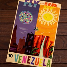 Fly up to Venezuela agencia de viajes de américa latina ad Vintage Retro decorativo Poster DIY pared lienzo pegatinas carteles decoración del hogar G