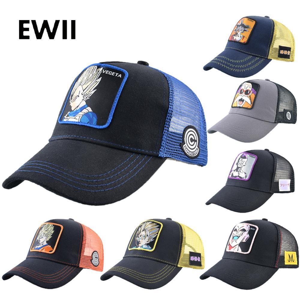 New summer   baseball     cap   men full snapback hat goku women dragon ball trucker   caps   hip hop dad hat mesh bone masculino