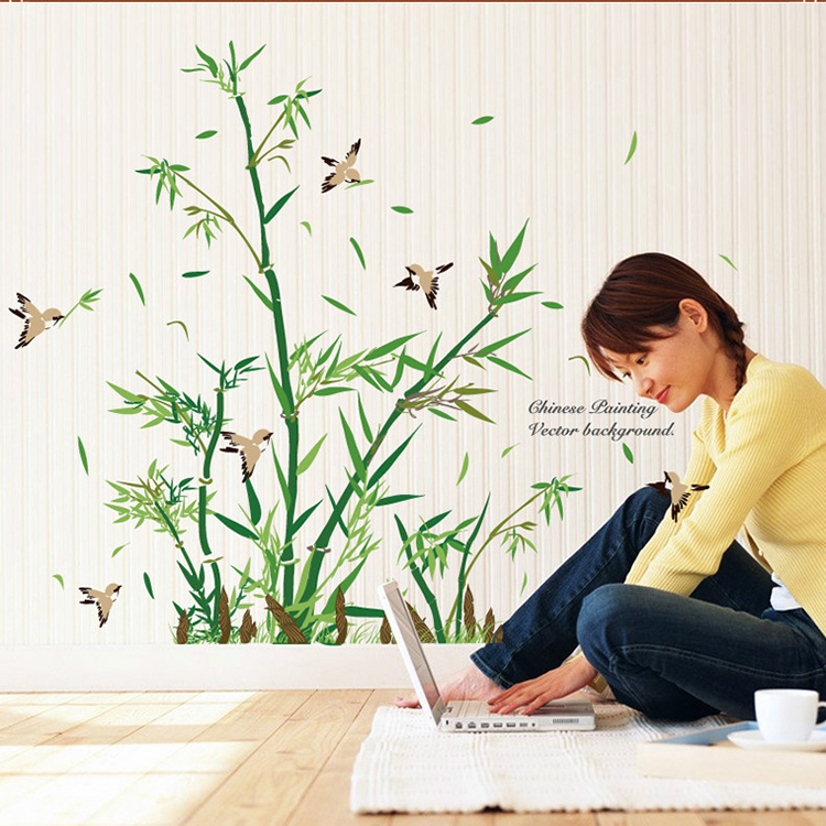 Grner Bambus Wald Wandaufkleber Vinyl DIY Dekorative Wandkunst Fr Wohnzimmer Schrank Dekoration WohnkulturChina