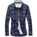 Marca de Moda de Algodón A Cuadros de Los Hombres Camisa Casual de Manga Larga Delgado Diseño ajustable de Alta Calidad Camisas de Vestir de Negocios Masculino Más Tamaño 5XL