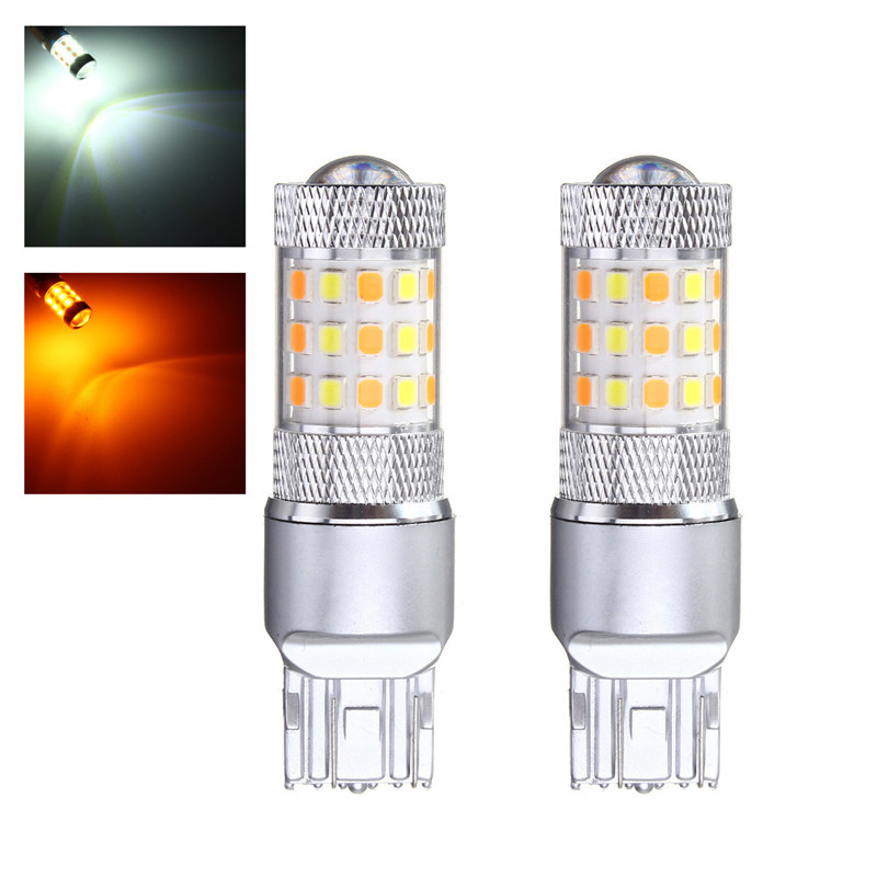 купить 2pcs Car Lights 3157 7443 42 SMD 2835 LED Auto Turn Light Switchback Light Bulb Dual Color White Yellow With Resistor DC12V онлайн