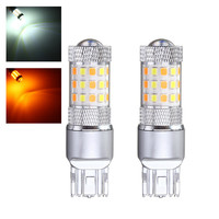 2pcs Car Lights 3157 7443 42 SMD 2835 LED Auto Turn Light Switchback Light Bulb Dual Color White Yellow With Resistor DC12V